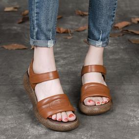 仙女风真皮坡跟厚底复古休闲凉鞋