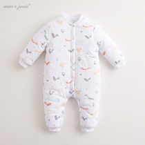 Mark Jenny Winter Boys and girls conjoined cotton clothes baby crawl suit newborn clothing thickening 71102