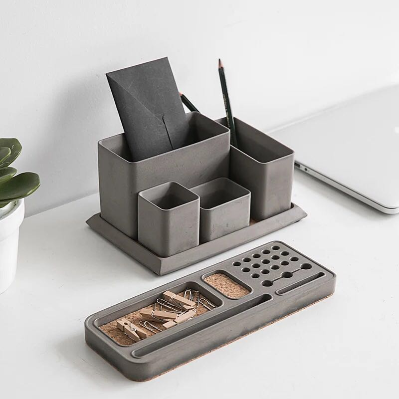 Nordic cement pen container storage box fair faced concrete personalized jewelry office creative fashion simple small fresh