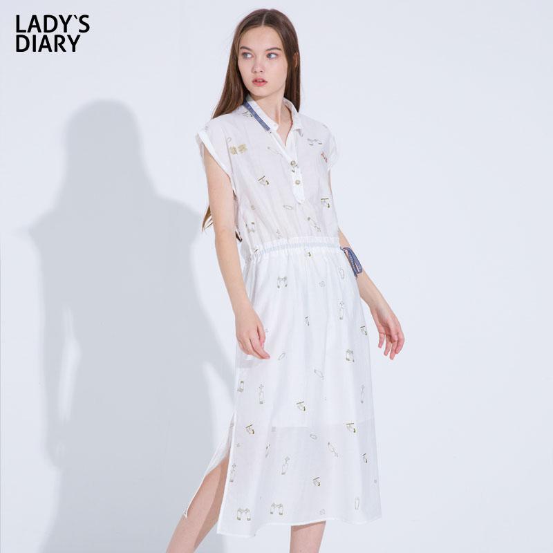 LADY'S DIARY/女性日记2019夏季新款中长款连衣裙休闲长裙
