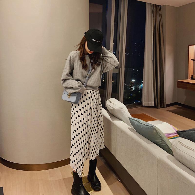 2020新款春秋装韩版洋气波点裙女半身裙中长款高腰小个子雪纺裙潮