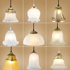 简约欧式灯具LED单头小吊灯罩餐厅走廊过道玄关铁艺阳台玻璃吊灯