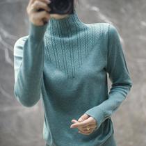 秋冬新款半高领羊毛针织衫女短款韩版宽松显瘦带花修身毛衣打底衫