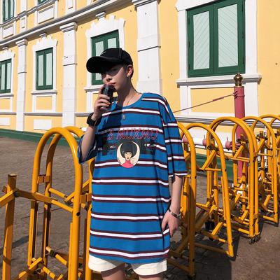 2019夏装新款1卡通印花男装宽松港风条纹短袖T恤 DT02 P45
