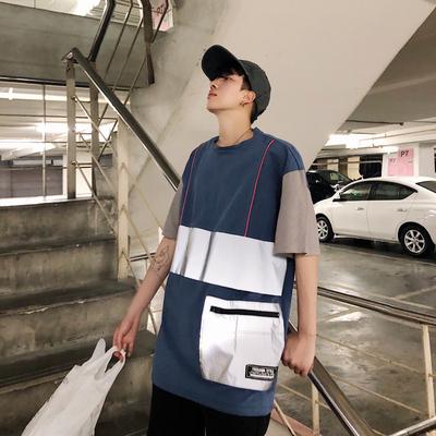 2019夏装新款1拼色反光男装宽松港风短袖T恤 DT01 P45