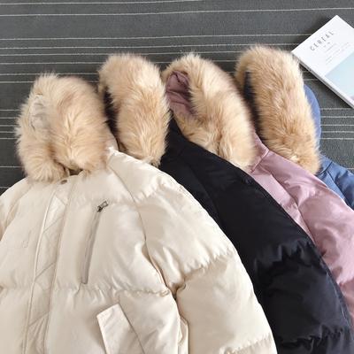 港风平铺 19冬季宽松大码情侣装 大毛领长款棉衣外套 CT06 P135