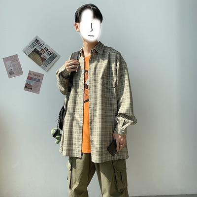 几物风 19秋装格子衬衫 港风新款宽松大码男士长袖衬衫 ST72 P55