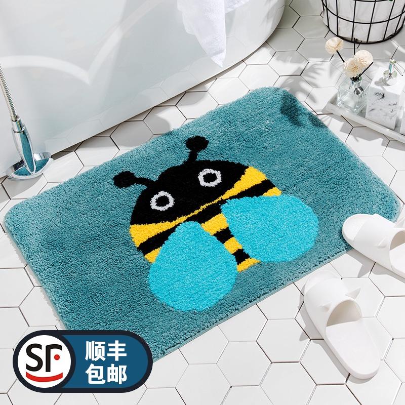 卡通可爱小蜜蜂卫生间门口吸水速干地垫浴室防滑垫脚垫卧室床边毯券后38.00元