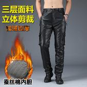 皮裤男2019新款麂皮绒防水防风加绒加厚PU摩托车宽松冲锋裤工装裤