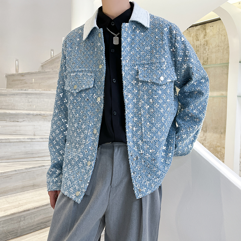 21 autumn and winter new Sequin denim jacket European and American high street minority mens and womens personalized jacket trend a266-380p125