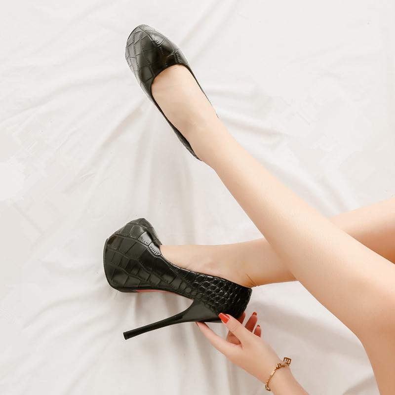 16公分高跟鞋防水台春秋新款细跟超高跟15cm恨天高大气性感女单鞋