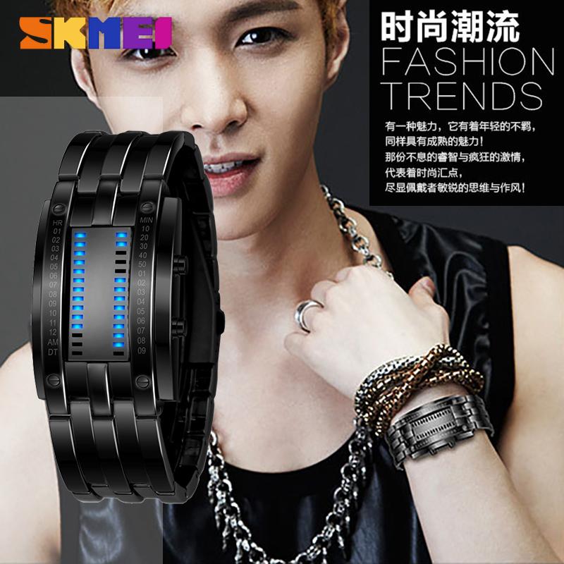 热销韩版防水LED手表男女时尚钨钢潮流情侣钢带炫酷手镯运动腕表
