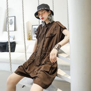 连体裤女装2020新款潮工装宽松休闲短裤女士夏装新款连衣裤套装