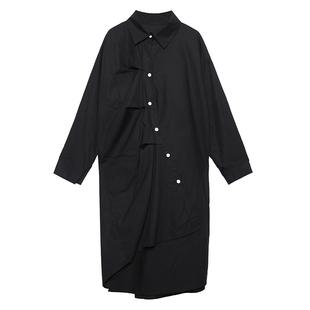 襯衣裙女設計感小眾中長款不規則大碼胖mm2020年新款春裝女連衣裙