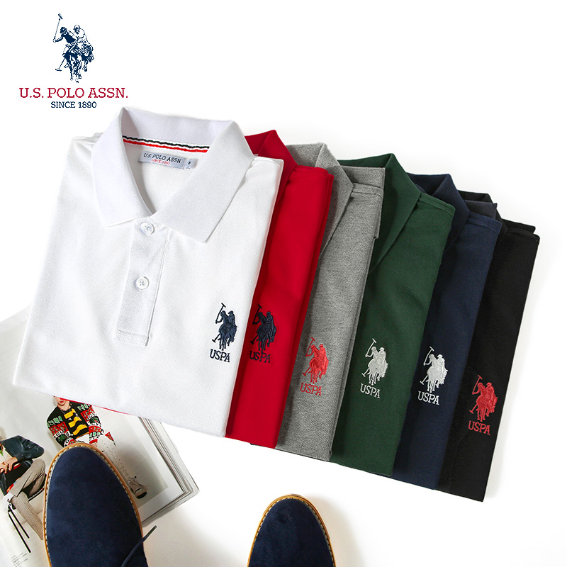 Uspoloassn American Polo Association summer mens pure cotton polo shirt embroidered Lapel short sleeve T-shirt
