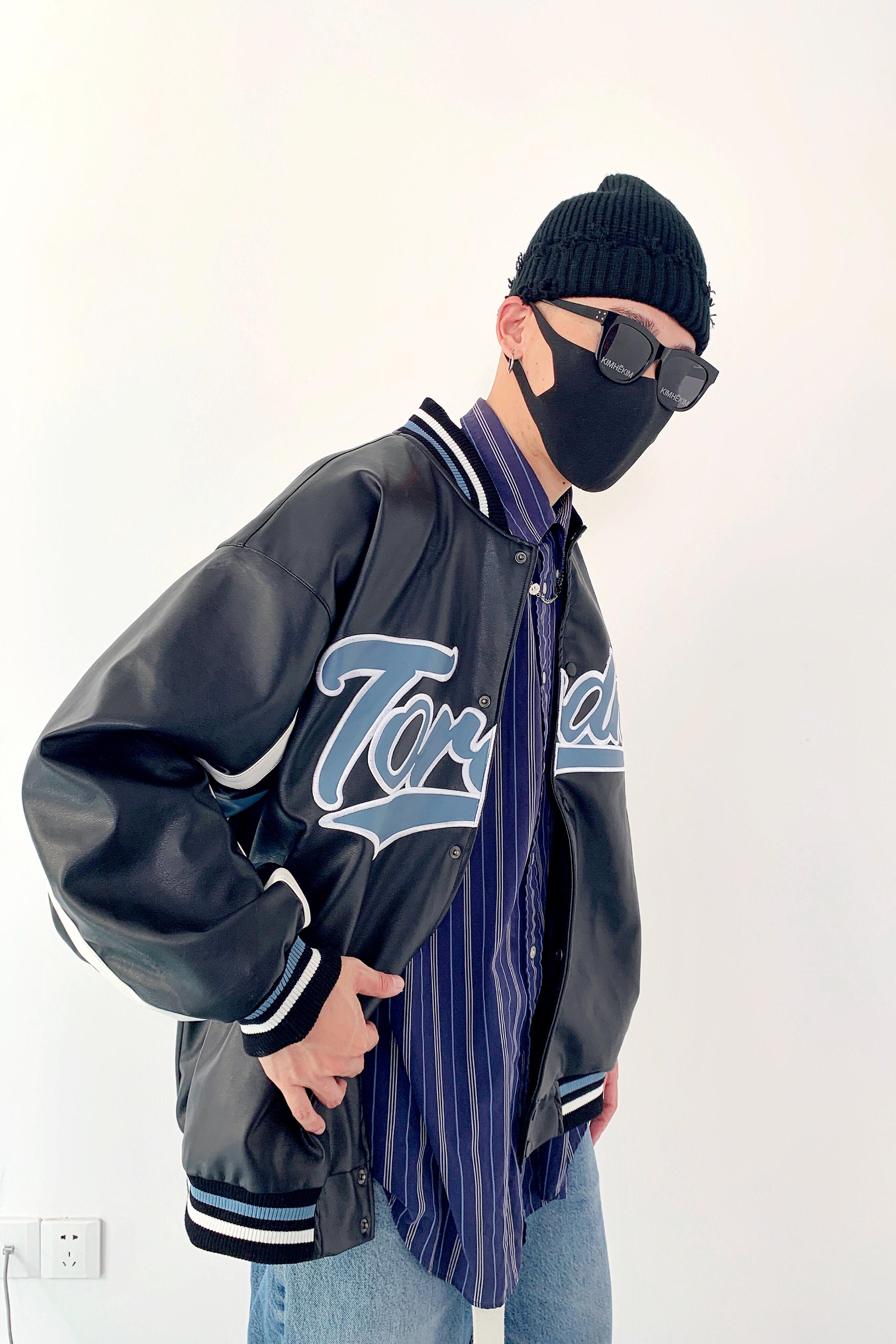 原创欧美街头流行古着拼接皮质情侣宽松棒球服夹克外套