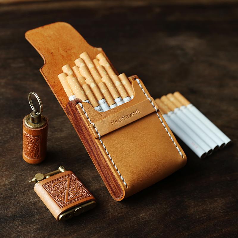 两针一线手工真皮烟盒木质20支装便携细烟盒创意复古定制10支装11-08新券