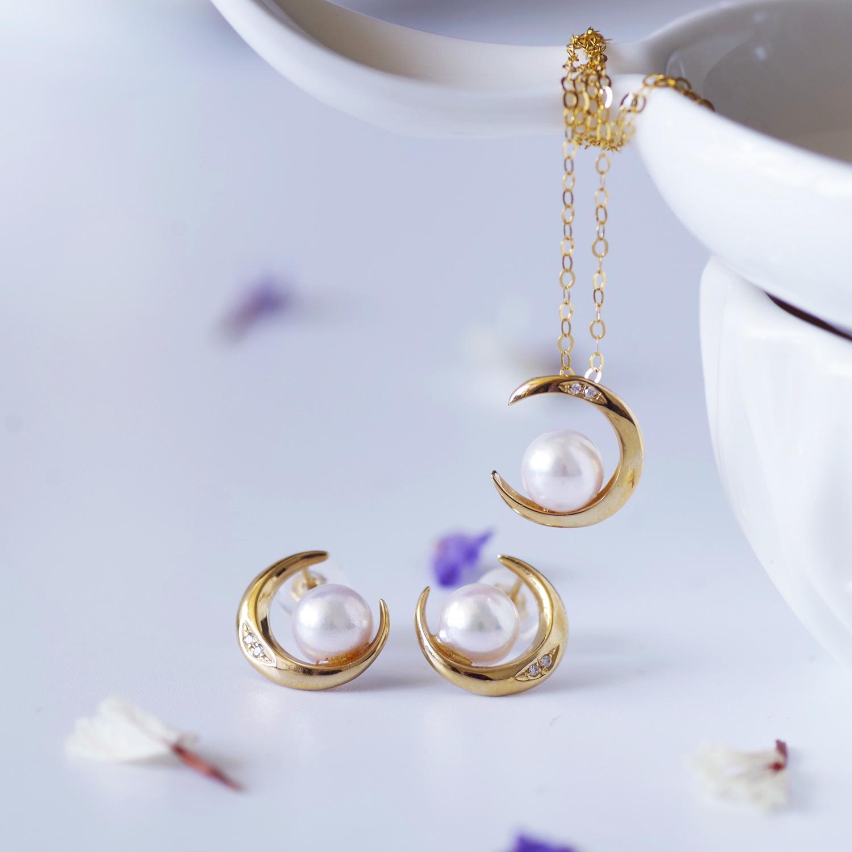 akoya珍珠项链日本阿古屋天然海水18K金镶钻月亮轻奢小众仙女颈链