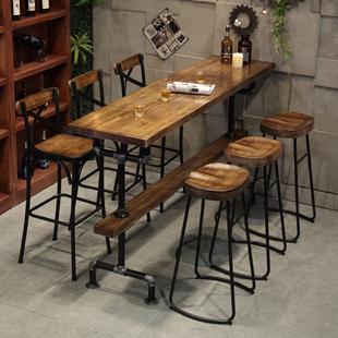 美式工业实木长条吧台桌靠墙高脚桌子简约咖啡奶茶店酒吧吧台桌椅