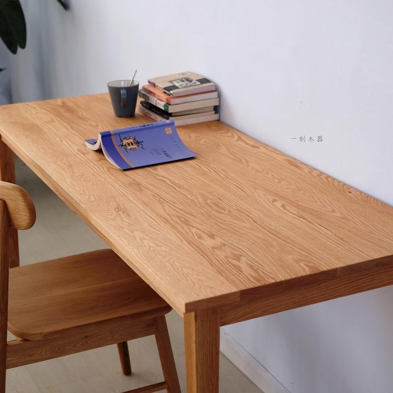 实木书桌北欧简约学习桌日式原木红橡木长方形工作台定制做电脑桌