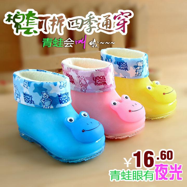 果冻卡通儿童雨鞋男女童加绒雨靴1-4岁宝宝水鞋幼童防滑塑胶筒鞋