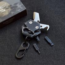 迷你多功能小刃六角钥匙挂扣硬钱刃折叠刃创意EDC组合工具螺丝刃