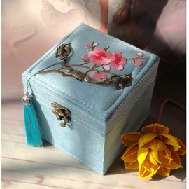 复古墨绿色三层饰品盒收纳盒欧式收纳盒可爱首饰盒小号礼品儿童