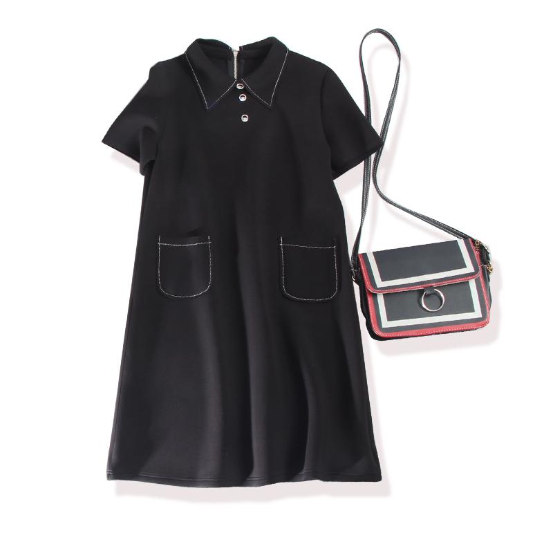热销57件正品保证JI致经典~黑白色系明线边小翻领太空棉短袖女连衣裙 优雅自内而外