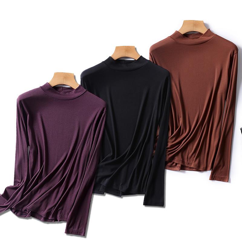 半高领秋衣大码女装秋冬装韩版莫代尔螺纹长袖女士T恤内搭打底衫