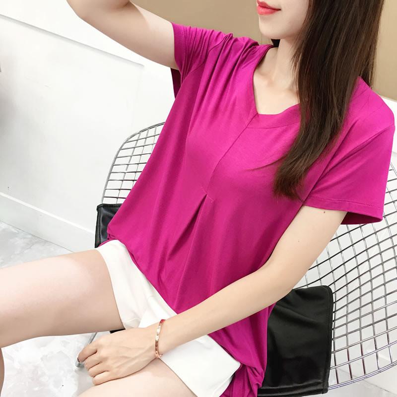 五折促销v领宽版短袖t恤大码新款打底衫