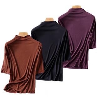 半高领中袖t大码女秋季新款高领修身螺纹莫代尔五分袖打底衫T恤衫