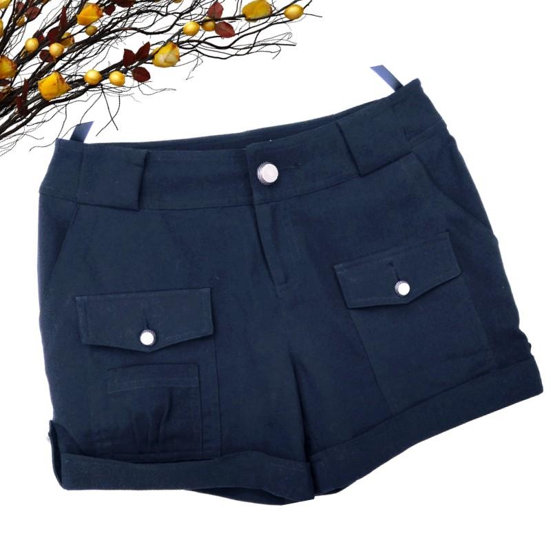 女装春秋夏特价黑色清仓品牌断码不对称兜兜翻边热裤精品小短裤