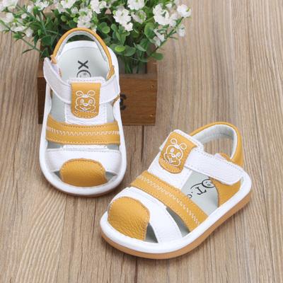 夏季新款1-3岁皮面男女童婴幼儿学步鞋防滑软叫叫鞋卡通宝宝凉鞋2