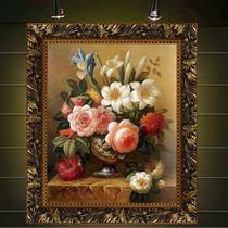 油画欧式客厅牡丹花卉梵高人物新古典纯手绘餐厅卧室玄关挂画壁画