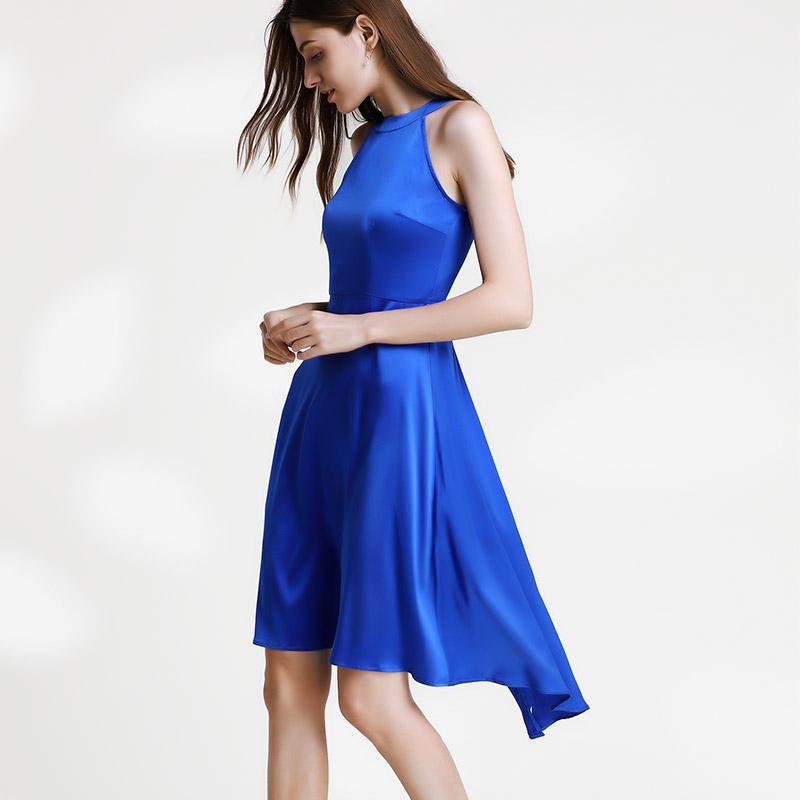 女装2019夏装新款 宝蓝圆领无袖重磅真丝连衣裙蚕丝修身前长后短