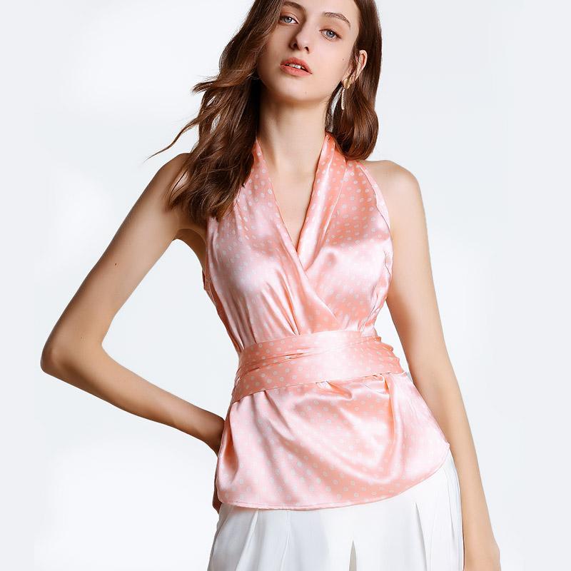 女装2019春夏新款100桑蚕丝粉色波点V领无袖衬衣重磅真丝修身上衣