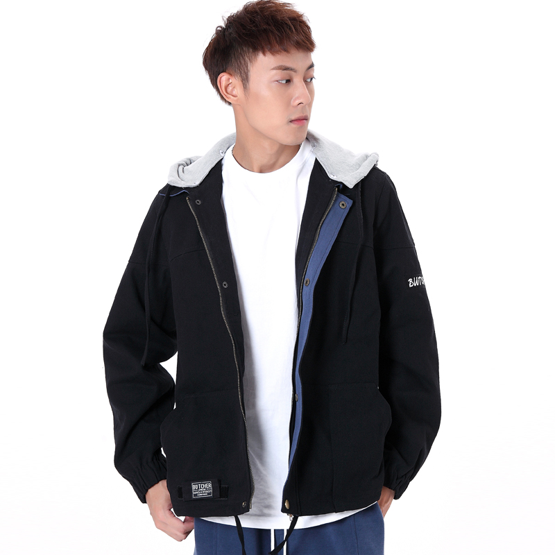 New mens detachable hooded work jacket with inner lining and cool look