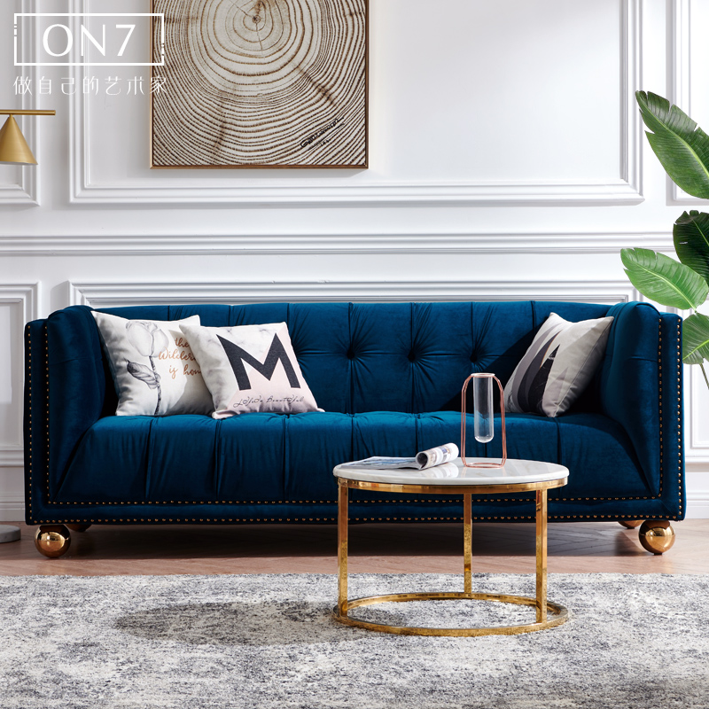On7 home Nordic Light luxury sofa modern simple style blue velvet ins three person living room combination furniture