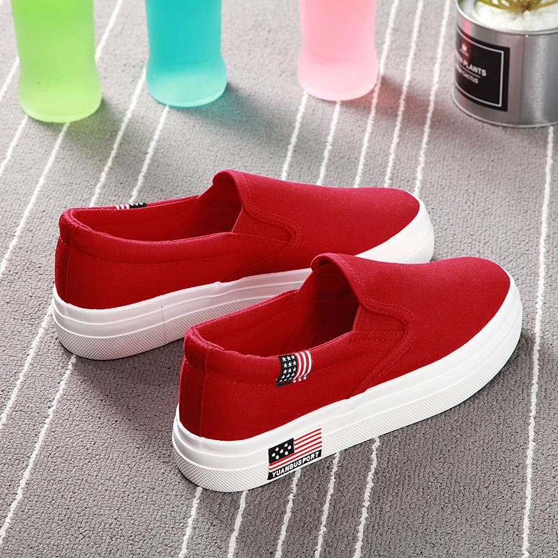 远步大红色板鞋秋季透气厚底女鞋评价如何