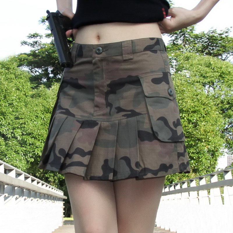 Sexy show thin three-dimensional bag cotton camouflage skirt miniskirt womens spring and summer mini size pleated skirt half length skirt