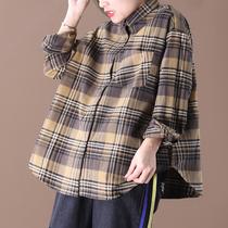 1.6新 春装2020新款韩版宽松大码文艺单口袋简约百搭格子长袖衬衫