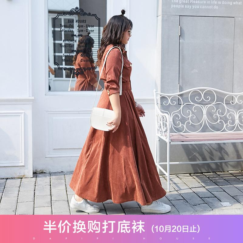 大码藏肉连衣裙200斤洋气灯芯绒长裙胖MM减龄腰粗遮肚子裙子秋冬
