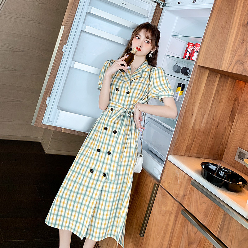 French shirt dress 2020 summer new womens style Lapel cover belly show thin lace up plaid skirt