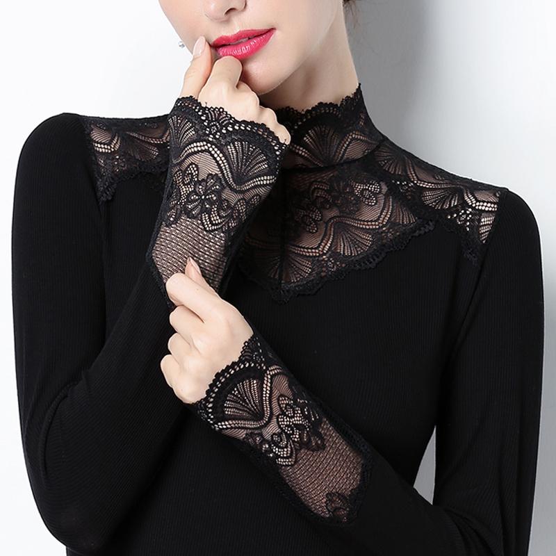 蕾丝打底衫立领加绒内搭上衣2020秋冬加厚修身百搭镂空小衫长袖女