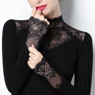 蕾丝打底衫立领内搭上衣2020春装半高领加绒修身百搭镂空小衫长袖