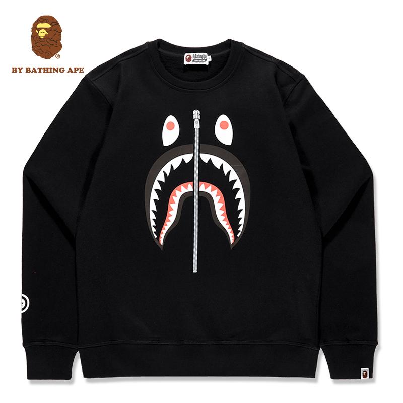鯊魚頭外套 男女L0BAPE聯名正版品黑白色套頭嘻哈潮牌 猿人頭衛衣