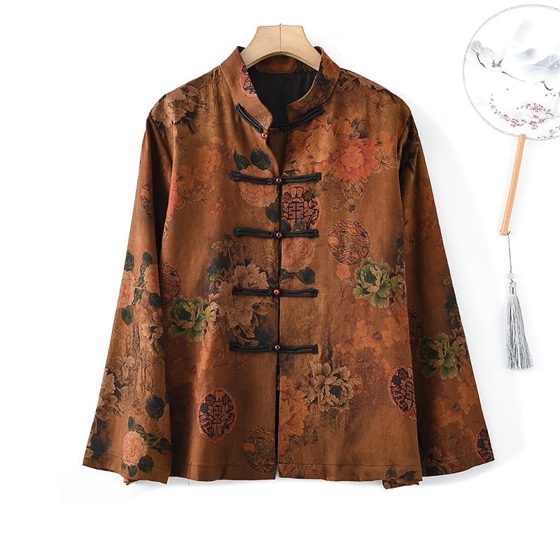 复古中国风真丝上衣重磅绢纺香云纱富贵开花长袖桑蚕丝玉扣女外套