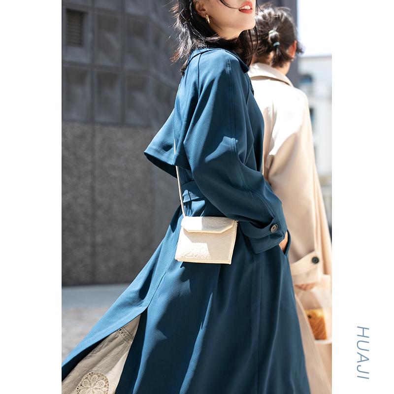 米色英伦风气质垂感腰带风衣女中长款年新款秋季外套2020花吉A533