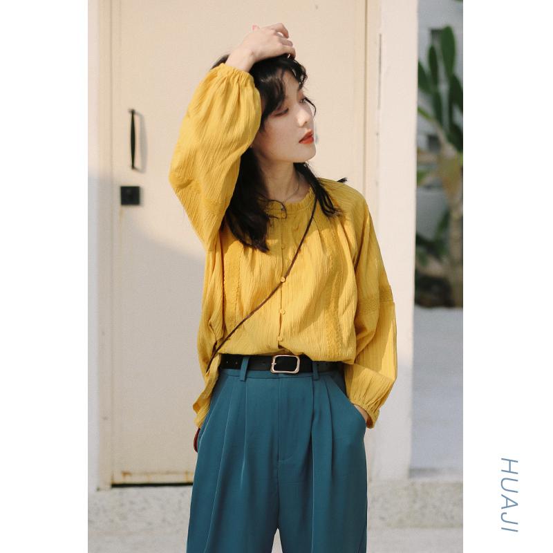 花吉黄色圆领木耳边纯棉泡泡袖衬衫女设计感小众衬衣上衣学生A383