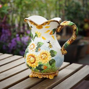 欧式家居摆件鲜花花瓶陶瓷水罐美式有柄花器插花花瓶向日葵花壶瓶